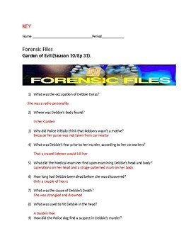 Forensic Files - Garden of Evil Video worksheet - Season 10 Ep 31