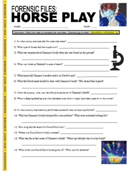Forensic Files : Horse Play (video worksheet)