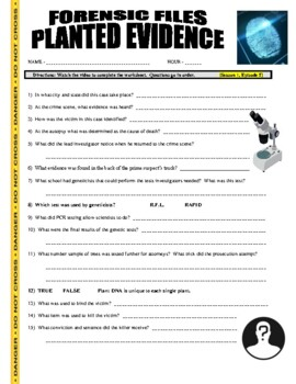 Forensic Files Planted Evidence Video Worksheet By Marvelous Middle School