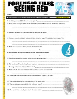 Forensic Files : Seeing Red (video worksheet)