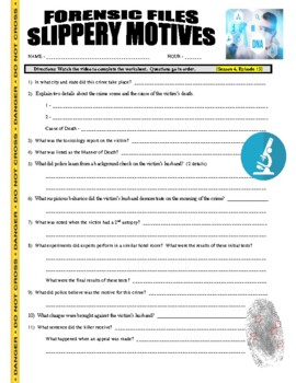 Forensic Files : Slippery Motives (video worksheet)
