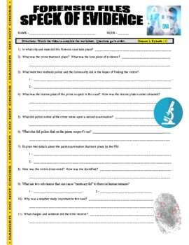 Forensic Files : Speck of Evidence (video worksheet)