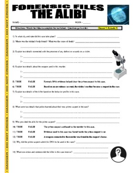 Forensic Files : The Alibi (science video worksheet)