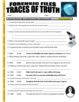 Forensic Files : Traces of Truth (video worksheet / no prep)