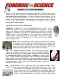 Forensic Science 101 - Types of Evidence (article / questions)