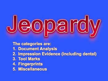 Forensic Jeopardy Documents Impressions Tool Marks Fingerprints