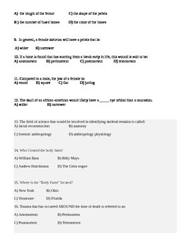 Forensic Pathology/Anthropology Test
