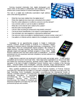 Forensic Science 101 - Digital & Multimedia Forensics (Article and Questions)