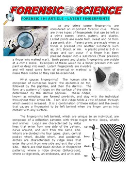 Forensic Science 101 : Latent Fingerprints (article / questions)