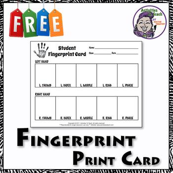 Forensic Science 101 - Student Fingerprint Card