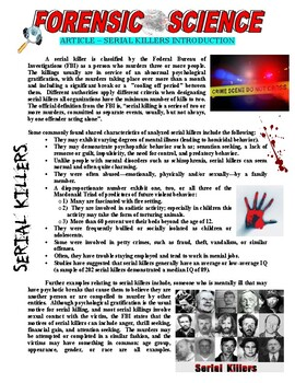 Forensic Science 101 : Serial Killers Introduction (article / questions)