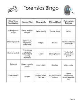 Forensic Science Bingo