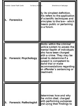 Forensic Science Careers Matching Puzzle By So Science Savvy Tpt