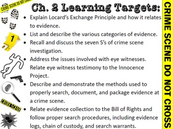 Forensic Science Crime Scene Learning Targets and Review Questions