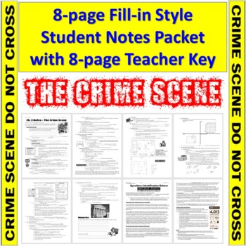 Forensic Science Crime Scene Notes Student Fill In Handout And Teacher Key