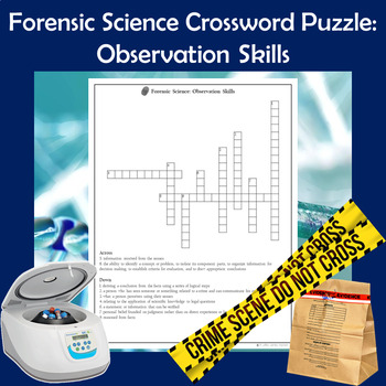 Forensic Science Crossword Puzzle Observation Skills Tpt