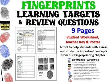 Forensic Science Fingerprints Learning Targets and Review