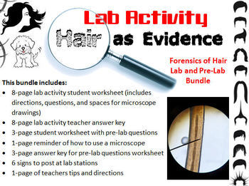 Forensic Science: Hair Evidence Analysis Lab Activity and Pre-Lab Worksheet