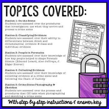 Forensic Science: Investigative Processes Classroom Escape Activity