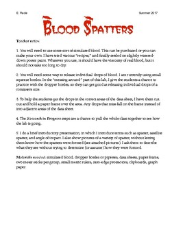 Blood Spatter Worksheet: forensic science lab paring blood spatter by eric rude tpt,