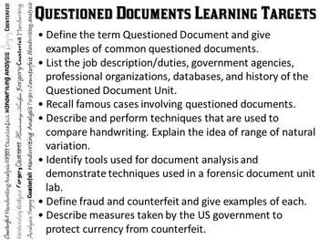 Forensic Science Questioned Documents Learning Targets and Review Questions