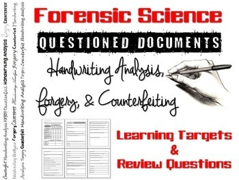 Forensic Science Questioned Documents Learning Targets and