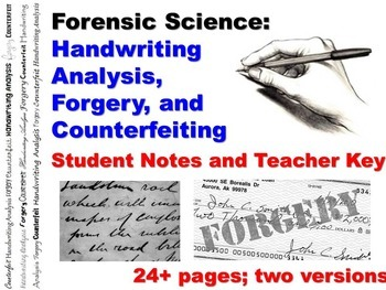 Forensic Science Questioned Documents Student Notes Worksheet and Teacher Key