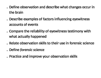 Forensic Science Success Criteria, and Objectives