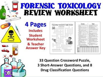 forensic science toxicology review worksheet tpt. Black Bedroom Furniture Sets. Home Design Ideas