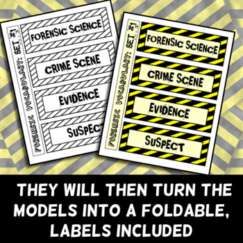 Forensic Science Vocabulary - Foldable - Frayer Model Format