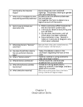 Forensic Science Textbook Student Notes Chapter 1 Observations