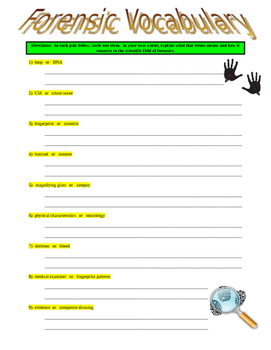 Forensic Vocabulary Puzzle and Wordsearch