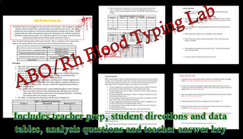 Forensics ABO/Rh Blood Typing Lab