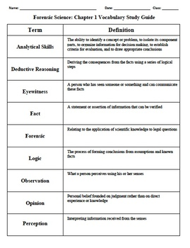 Forensics Chapter 1 Observation Skills Vocabulary Review Crossword