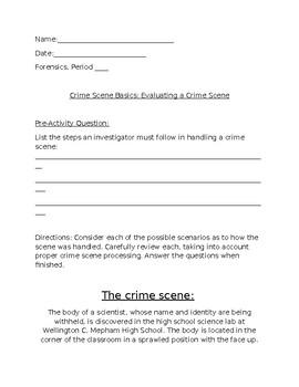 Forensics Crime Scene Basics Activity