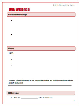 Forensics: DNA Evidence Lecture Presentation and Student Note Guide
