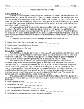Forensics Glass Worksheets Teaching Resources Tpt
