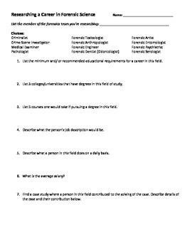Forensics Team Worksheet