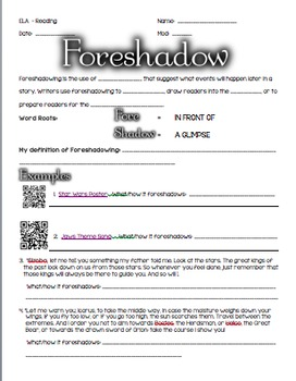 Worksheets Foreshadowing Worksheet foreshadowing definition an by using your smarticles teachers and practice worksheet