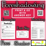 Foreshadowing Definition and Practice Worksheet (Distance