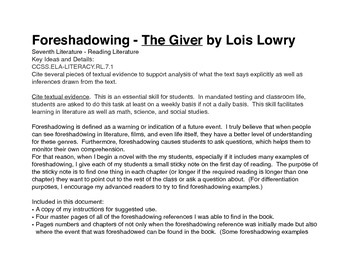 Foreshadowing Examples and Exercises for The Giver by Lois Lowry