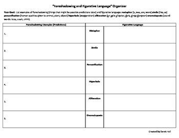 Foreshadowing & Figurative Language Organizer