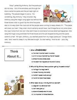 Foreshadowing: Reading Passage (Strega Nona), Graphic Organizer and Questions