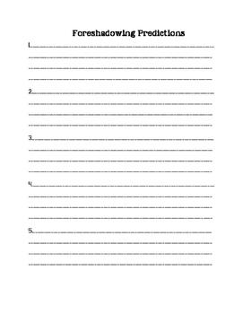 Foreshadowing Worksheet 6-12 ELA