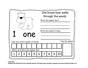 Forest Animal 1-10 Number Booklet: #word, writing, tally+more!