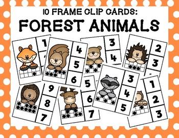 Forest Animal 10 Frame Clip Cards