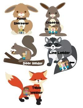 Forest Animal Classroom Job Chart