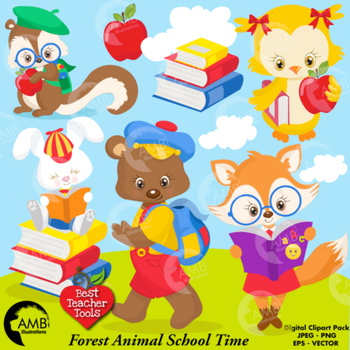 Forest Animal Clipart, Back to School ClipArt, AMB-1407