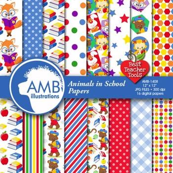Forest Animal Clipart, Digital Papers Bundle {Best Teacher Tools} AMB-1699