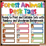 Woodland Animals Editable Desk Name Tags